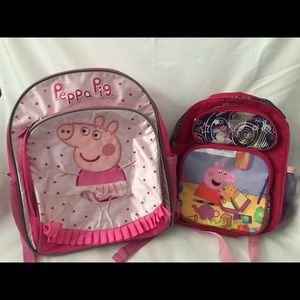 2 peppa pig school backpacks book bags